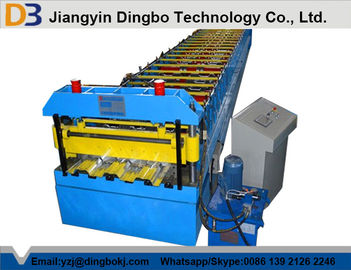 Chain Transmission Metal Deck Roll Forming Machine With Trapezoidal Profile